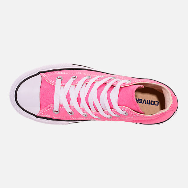 Top view of Girls' Little Kids' Converse Chuck Taylor High Top Casual Shoes in Pink