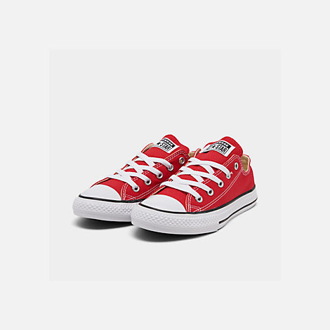 Three Quarter view of Boys' Little Kids' Converse Chuck Taylor Ox Casual Shoes in Red