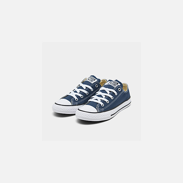 Three Quarter view of Boys' Little Kids' Converse Chuck Taylor Ox Casual Shoes in Navy