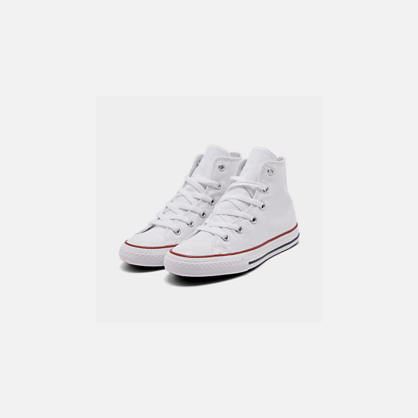 Three Quarter view of Boys' Little Kids' Converse Chuck Taylor Hi Casual Shoes in White