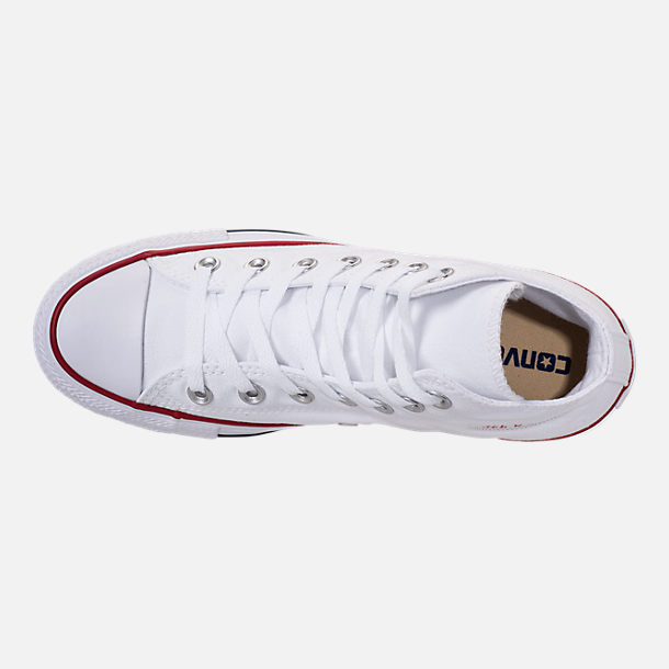 Top view of Boys' Little Kids' Converse Chuck Taylor Hi Casual Shoes in White