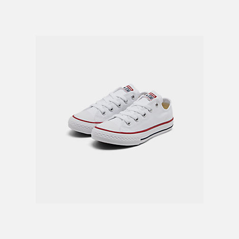 Three Quarter view of Boys' Little Kids' Converse Chuck Taylor Low Top Casual Shoes in White
