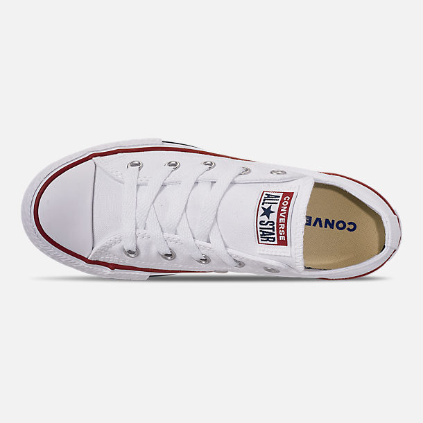 Top view of Boys' Little Kids' Converse Chuck Taylor Low Top Casual Shoes in White