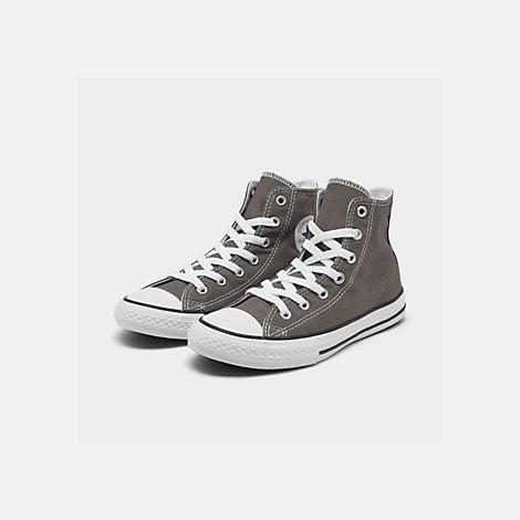 Three Quarter view of Boys' Little Kids' Converse Chuck Taylor Hi Casual Shoes in Charcoal