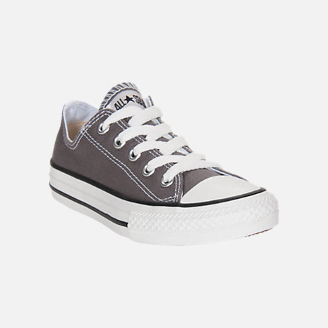 Three Quarter view of Boys' Little Kids' Converse Chuck Taylor Low Top Casual Shoes in Grey/White