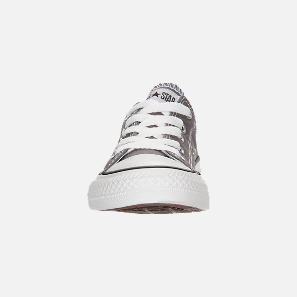 Front view of Boys' Little Kids' Converse Chuck Taylor Low Top Casual Shoes in Grey/White