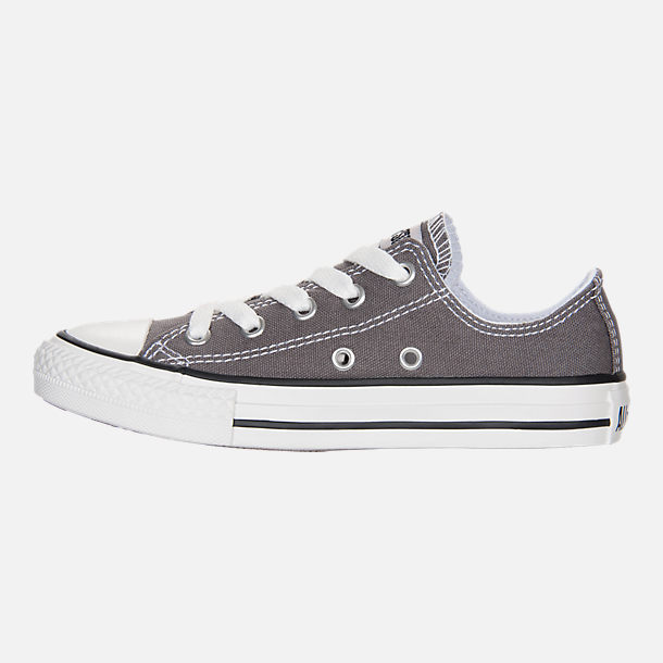 Left view of Boys' Little Kids' Converse Chuck Taylor Low Top Casual Shoes in Grey/White