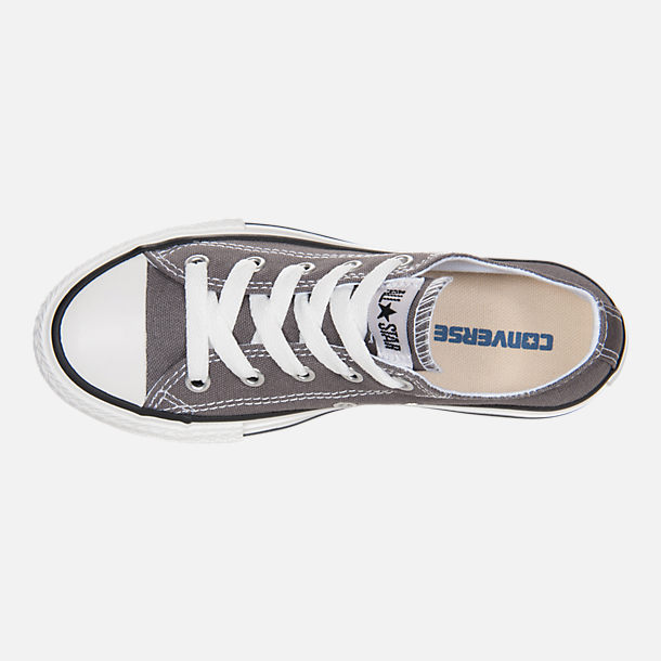 Top view of Boys' Little Kids' Converse Chuck Taylor Low Top Casual Shoes in Grey/White