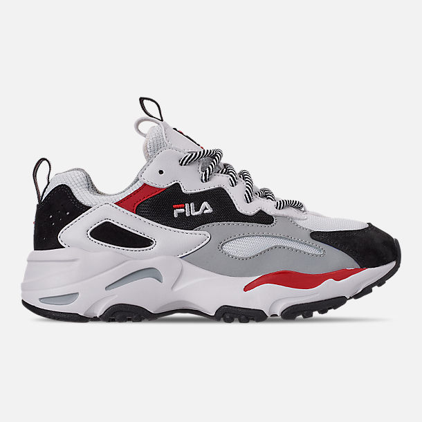 Right view of Big Kids' Fila Ray Tracer Casual Shoes in White/Red/Black