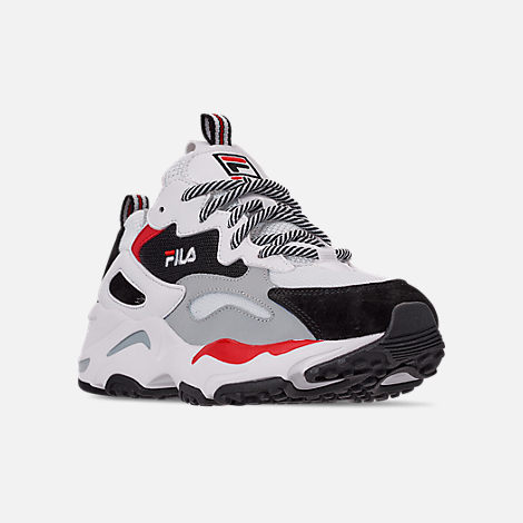 Three Quarter view of Big Kids' Fila Ray Tracer Casual Shoes in White/Red/Black