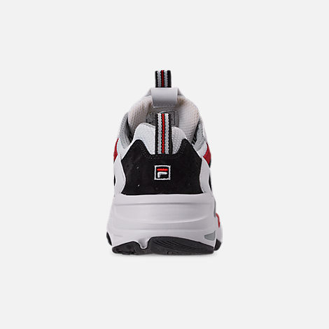 Back view of Big Kids' Fila Ray Tracer Casual Shoes in White/Red/Black