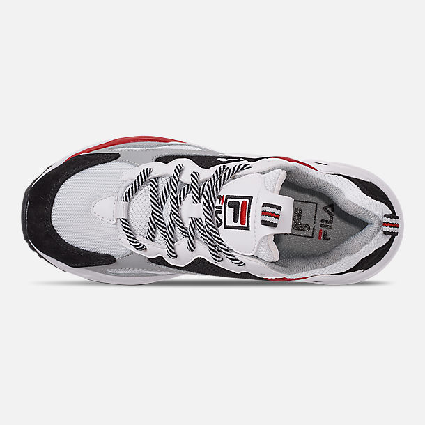 Top view of Big Kids' Fila Ray Tracer Casual Shoes in White/Red/Black