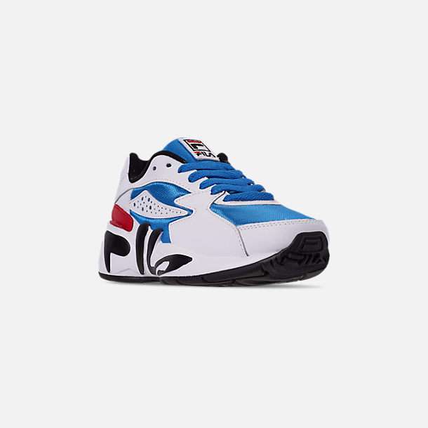Three Quarter view of Big Kids' Fila Mindblower Casual Shoes in White/Green/Blue/Red