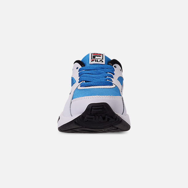 Front view of Big Kids' Fila Mindblower Casual Shoes in White/Green/Blue/Red