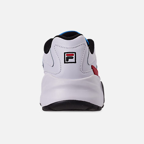 Back view of Big Kids' Fila Mindblower Casual Shoes in White/Green/Blue/Red