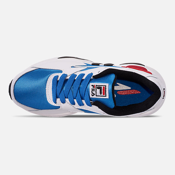 Top view of Big Kids' Fila Mindblower Casual Shoes in White/Green/Blue/Red