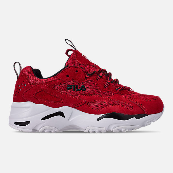 Right view of Big Kids' Fila Ray Tracer Casual Shoes in Red/White/Black