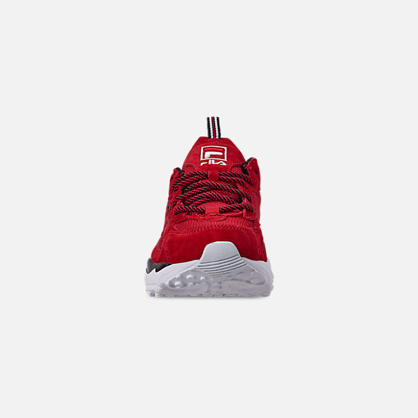 Back view of Big Kids' Fila Ray Tracer Casual Shoes in Red/White/Black