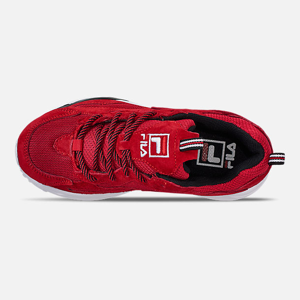 Top view of Big Kids' Fila Ray Tracer Casual Shoes in Red/White/Black