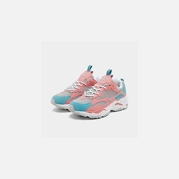 Three Quarter view of Big Kids' Fila Ray Tracer Casual Shoes in Vapor Blue/Strawberry Ice/Marine Blue