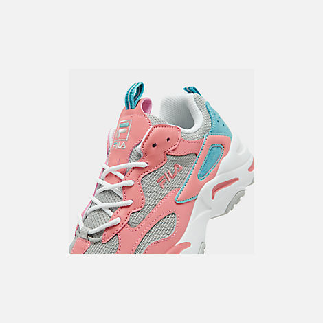 Front view of Big Kids' Fila Ray Tracer Casual Shoes in Vapor Blue/Strawberry Ice/Marine Blue