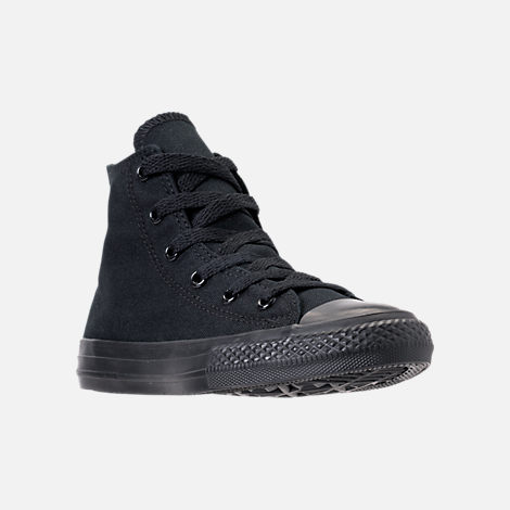 Three Quarter view of Boys' Little Kids' Converse Chuck Taylor High Casual Shoes in Black Mono