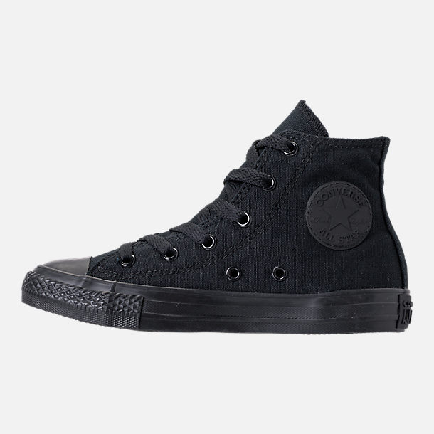 Left view of Boys' Little Kids' Converse Chuck Taylor High Casual Shoes in Black Mono