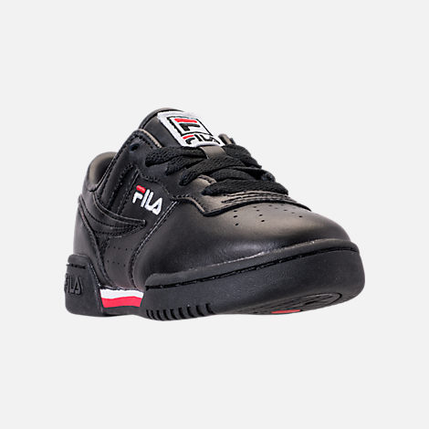Three Quarter view of Boys' Big Kids' Fila Original Fitness Casual Shoes in Black/White/Red