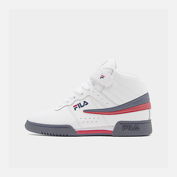 Right view of Boys' Big Kids' Fila F-13 Hook-and-Loop Training Shoes in White/Navy/Red