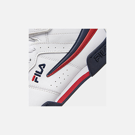 Front view of Boys' Big Kids' Fila F-13 Hook-and-Loop Training Shoes in White/Navy/Red