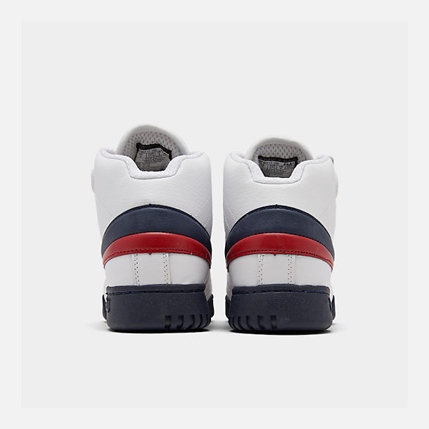 Left view of Boys' Big Kids' Fila F-13 Hook-and-Loop Training Shoes in White/Navy/Red