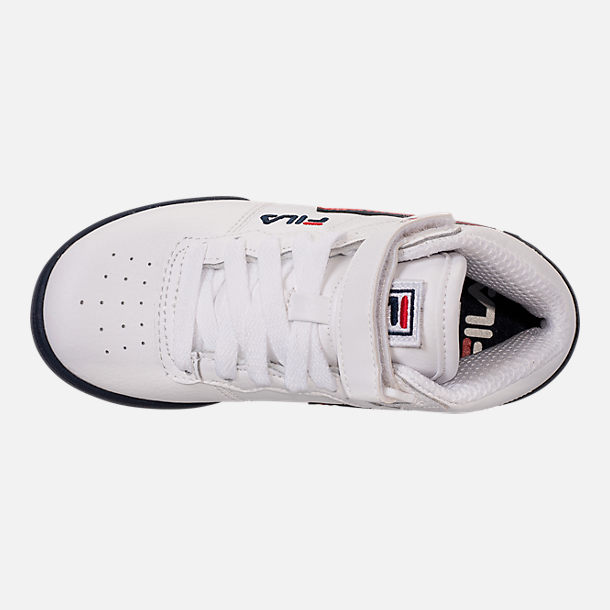 Top view of Boys' Big Kids' Fila F-13 Hook-and-Loop Training Shoes in White/Navy/Red