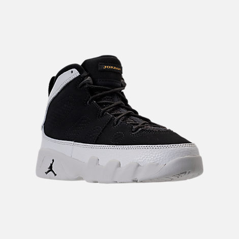 Three Quarter view of Kids' Preschool Air Jordan Retro 9 Basketball Shoes in Black/Summit White/Metallic Gold