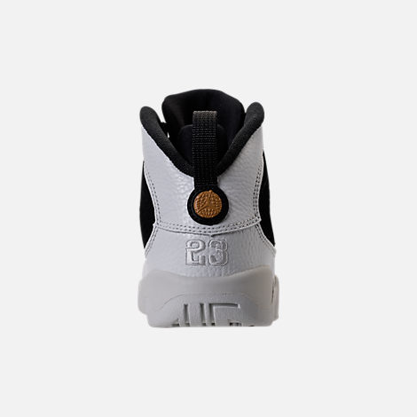 Back view of Kids' Preschool Air Jordan Retro 9 Basketball Shoes in Black/Summit White/Metallic Gold