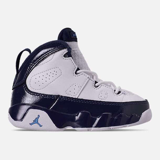 Right view of Kids  Toddler Air Jordan Retro 9 Basketball Shoes in  White University 5438637ed