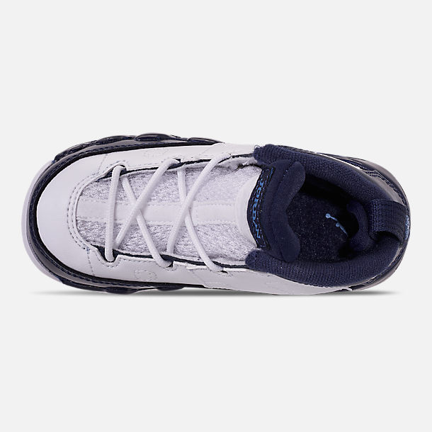 Top view of Kids' Toddler Air Jordan Retro 9 Basketball Shoes in White/University Blue/Midnight Navy