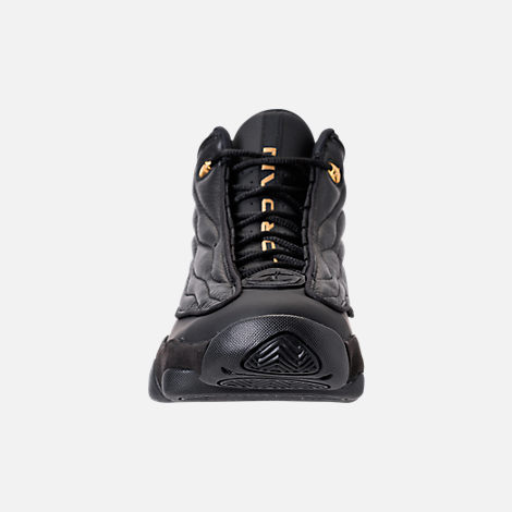 Front view of Men's Air Jordan Pro Strong Basketball Shoes in Black/Metallic Gold/Black
