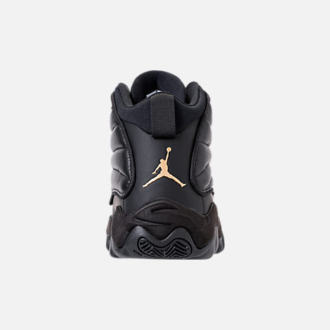 Back view of Men's Air Jordan Pro Strong Basketball Shoes in Black/Metallic Gold/Black