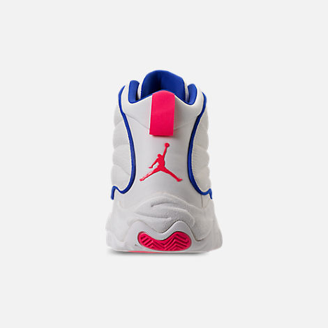 Back view of Men's Air Jordan Pro Strong Basketball Shoes in Sail/Blue/Racer Pink