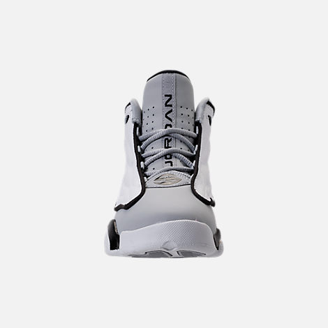 Front view of Boys' Preschool Air Jordan Pro Strong Basketball Shoes in Wolf Grey/Black/White