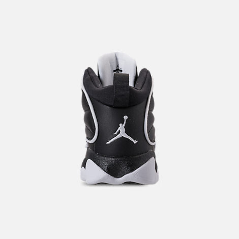 Back view of Boys' Preschool Air Jordan Pro Strong Basketball Shoes in Black/White/White