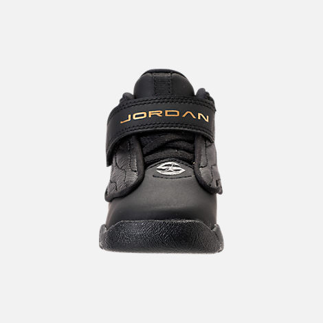 Front view of Boys' Toddler Air Jordan Pro Strong Basketball Shoes in Black/Black