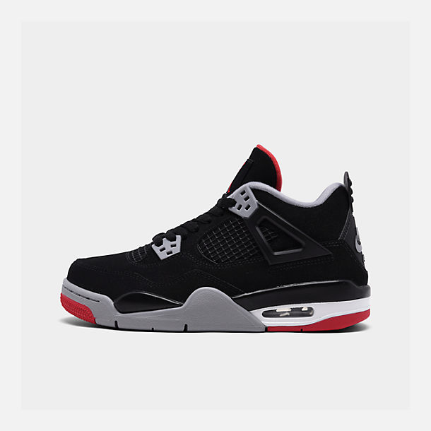 ca01a8659162fd Right view of Big Kids  Air Jordan Retro 4 Basketball Shoes in Black Fire
