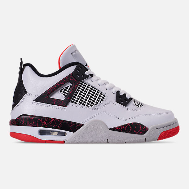 Right view of Big Kids' Air Jordan Retro 4 Basketball Shoes in White/Black/Bright Crimson/Pale Citron