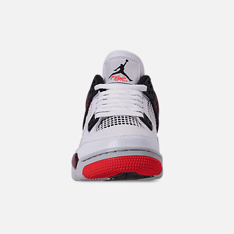 Front view of Big Kids' Air Jordan Retro 4 Basketball Shoes in White/Black/Bright Crimson/Pale Citron