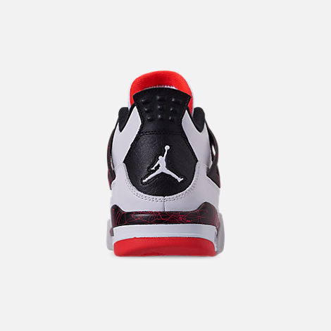 Back view of Big Kids' Air Jordan Retro 4 Basketball Shoes in White/Black/Bright Crimson/Pale Citron