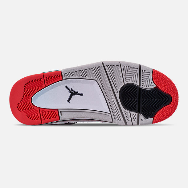 Bottom view of Big Kids' Air Jordan Retro 4 Basketball Shoes in White/Black/Bright Crimson/Pale Citron
