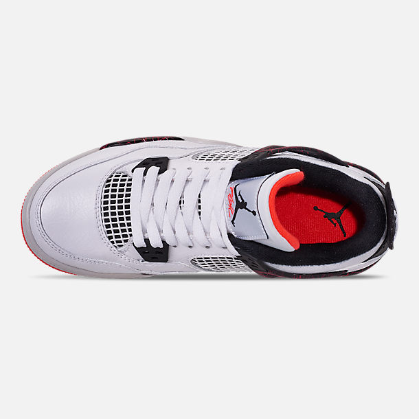 Top view of Big Kids' Air Jordan Retro 4 Basketball Shoes in White/Black/Bright Crimson/Pale Citron