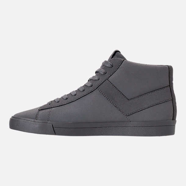 Left view of Men's Pony Topstar Chromatic Suede High Casual Shoes in Grey