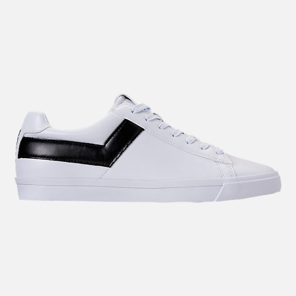 Right view of Men's Pony Topstar Low Casual Shoes in White/Black